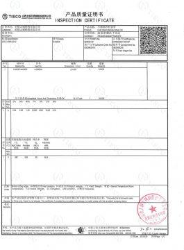 Inspekční certifikát 304SS