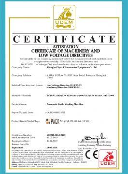 Certifikát CE automatické myčky lahví