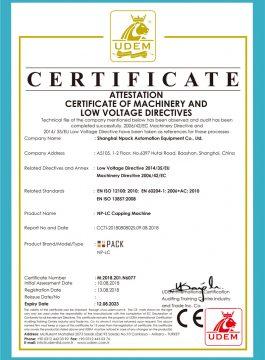 Certifikát CE uzavíracího stroje