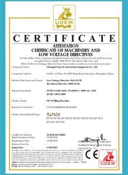 Certifikát CE plnícího stroje